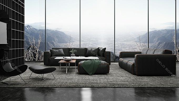 马丁尼 极简轻奢真皮客厅沙发(Martini Sofa)